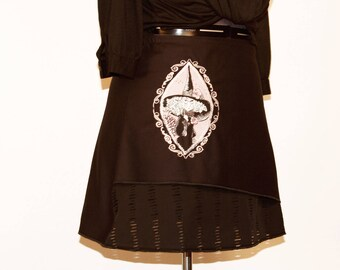Gothic asymmetrical skirt with embroidery and applications size 40/42