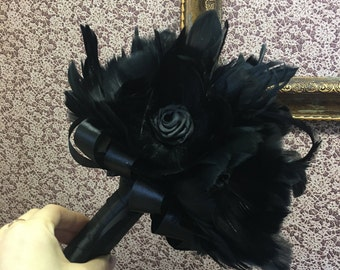 Gold Vintage Gatsby Gothic Victorian Feather Fan Bouquet in Black Silver and Deep Marsala Red
