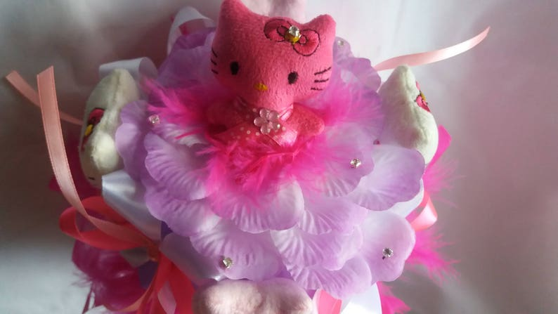 Gift for girl Miniature Plush toys Hello Kitty bouquet Sweet 16gift Beloved Feather Pink bouquet Baby Shower gift,Gift Valentine/'s Day