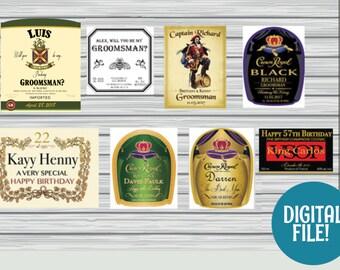 DIGITAL custom liquor label, custom whiskey label, custom rum label, custom tequila label, whiskey label groomsmen, whiskey label customized