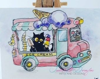 b7fdf76be56eca ORIGINAL painting  284 black cat mouse ice cream truck watercolor funny  whimsical Aceo miniature