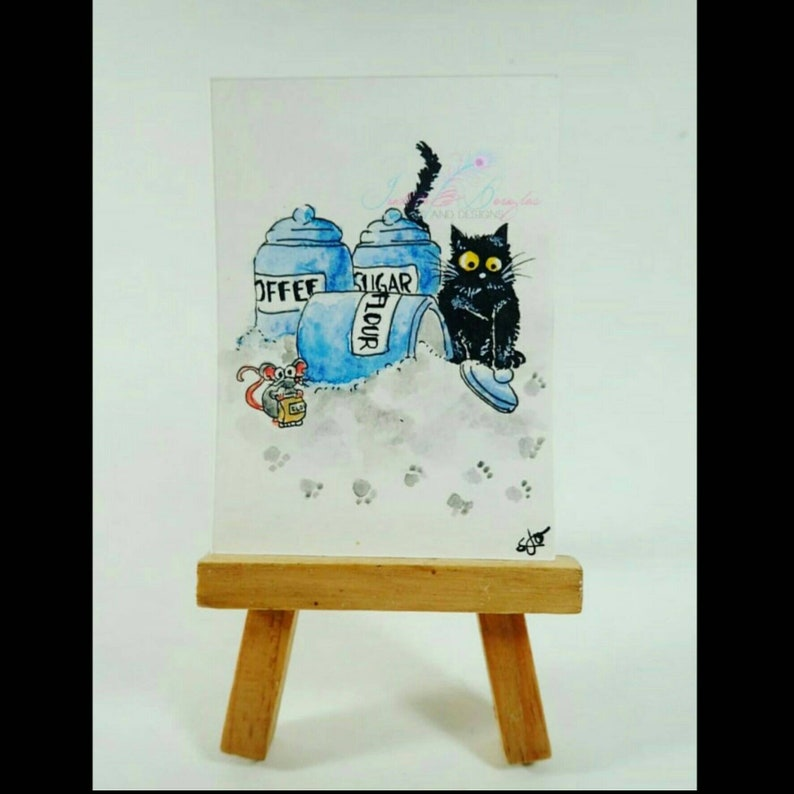 Cat art,watercolor signed painting print on paper,pet,Tabby Cat playing w// mouse