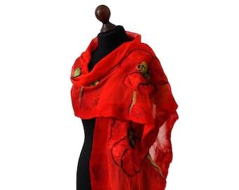 Felted scarf, silk felt shawl with poppies, nuno felt scarf, felted scarves for women,red,yellow,green and black scarf, felt spring shawl