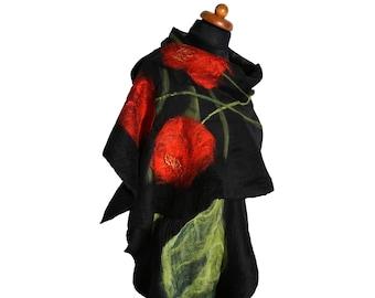 Silk felt spring shawl with poppies, felted scarf, nuno felt shawl, felt scarves for women, black, red and green scarf, silk felt wrap