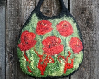 Small felt hand bag, felted bag with a flowery meadow pattern, hand-held purse, handmade felt gift for woman,ready to ship,black,red & green