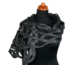 Felt and silk felted scarf, openwork mesh shawl for women, graphite shawl for an elegant event, unique felt scarf, handmade gift for her