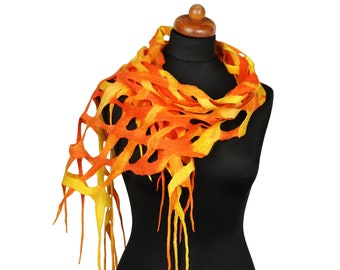 Autumn felted scarf, openwork mesh shawl for women, yellow and orange shawl, unique felt scarf, ready to ship, handmade gift for her