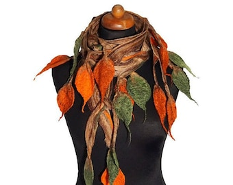 Openwork felt shawl, felted scarf for women, felting wool scarves, shades of brown, orange and green felt scarf, wool gift for her, handmade