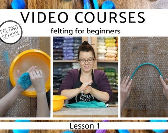 4 Video courses – felting for beginners, wet felting jewelry elements tutorial–felted balls and ropes, lesson 1,video tutorials,step by step