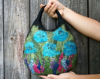 Small felt hand bag, felted bag with a flowery meadow pattern, hand-held purse,handmade felt gift for women,ready to ship,black,blue & green