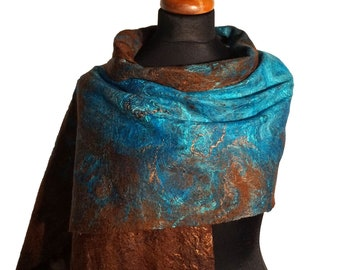 Silk felted scarf, shawl in shades of turquoise and brown, handmade felted shawl, nuno felted scarves for women, silk and wool scarf for her