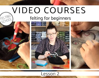 Video courses – felting for beginners, needle felting appliqués on fabric and material, tutorial – felted flowers and ornaments,step by step