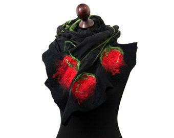 Silk felt spring shawl with tulips, nuno felting shawl, felt scarves for women, black and red felted scarf, felt hand made gift for her