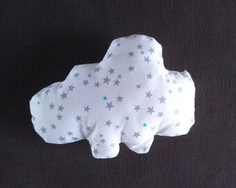 Small cloud shaped pillow-toy star nightblue gray turquoise on white  background 68907980912e