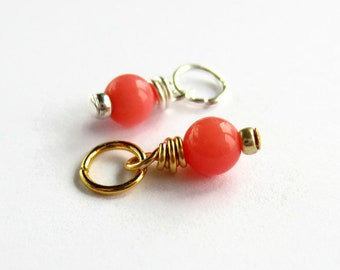 Pink Coral Charm - Genuine Coral Gemstone Charm - Coral Pendant - Sterling Silver or 15K Gold Filled - Coral Jewelry - 10mm x 4mm