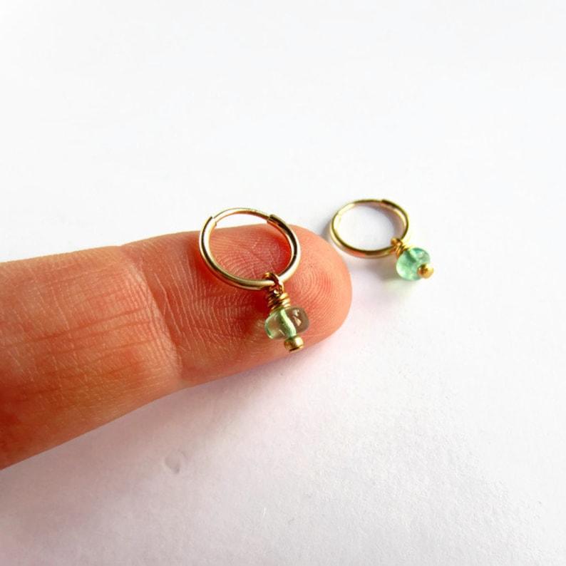 Tiny Drop Sleepers Gold Filled Hoop Earrings 12mm Endless Hoops Aqua Blue Apatite Gemstone Hoops Bridesmaid Gifts