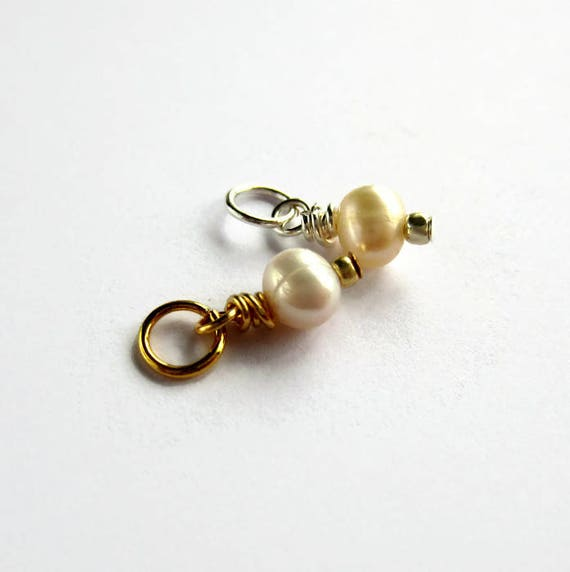 15mm Sterling Silver or 14K Gold Filled Charm June Birthstone Pendant Semi Precious Gemstone Stack Pink Freshwater Pearl Charm