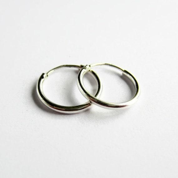 Sterling Silver 15mm Hoop Heart Earrings Small Hoops Sleepers Pair 925