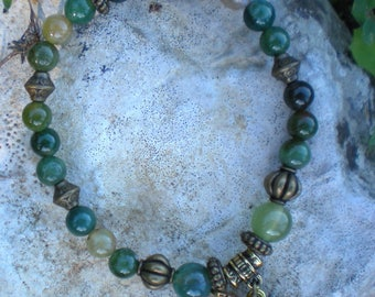 MALA Jade ombre green 6 mm and Ohm charm BRACELET