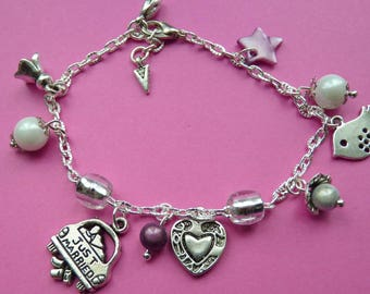 BRACELET * JUST MARRIED * silver plated adjustable chain