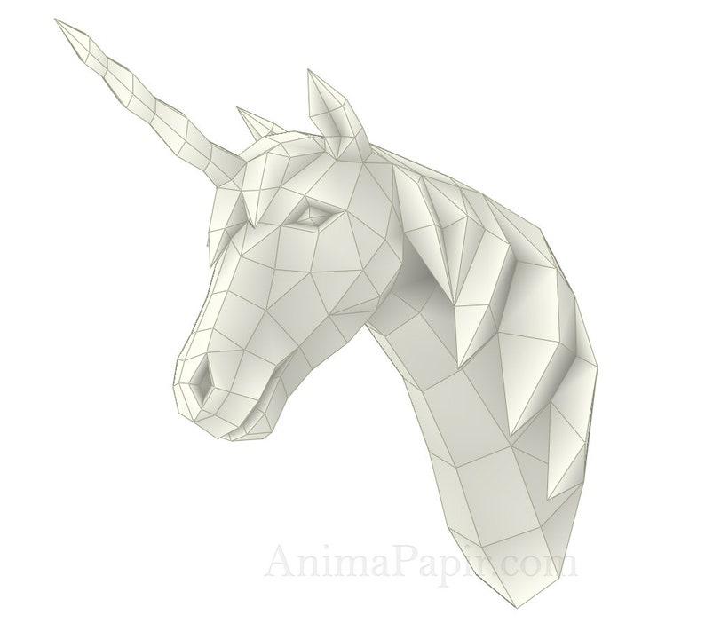 DIY Unicorn Unicorn papercraft animal papercraft Unicorn trophy papercraft Low poly Unicorn head Paper Unicorn