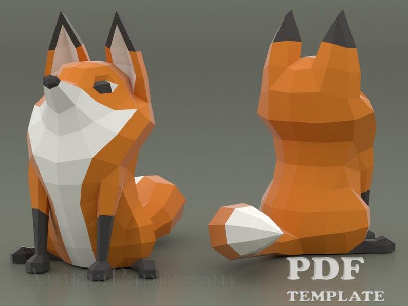 Cartoon Fox Papercraft Low poly fox DIY fox Printable PDF image 0