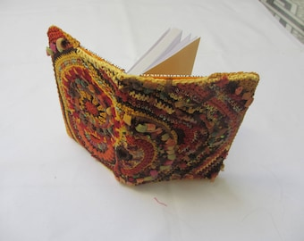 NOTEBOOK covered with decorated with FREEFORM crochet