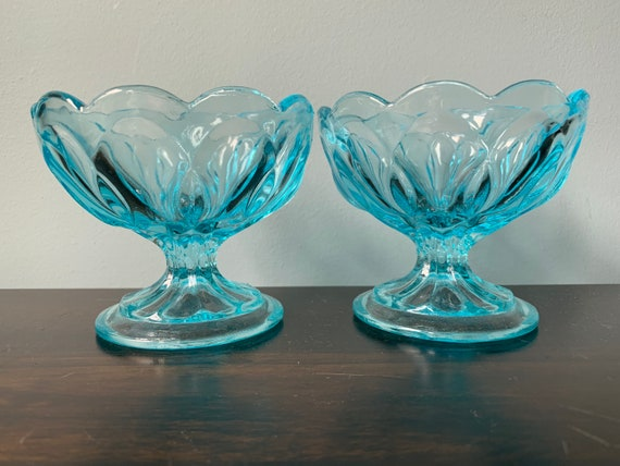 Vintage Anchor Hocking Fairfield Sherbet Dish Footed Bowl Ice Blue