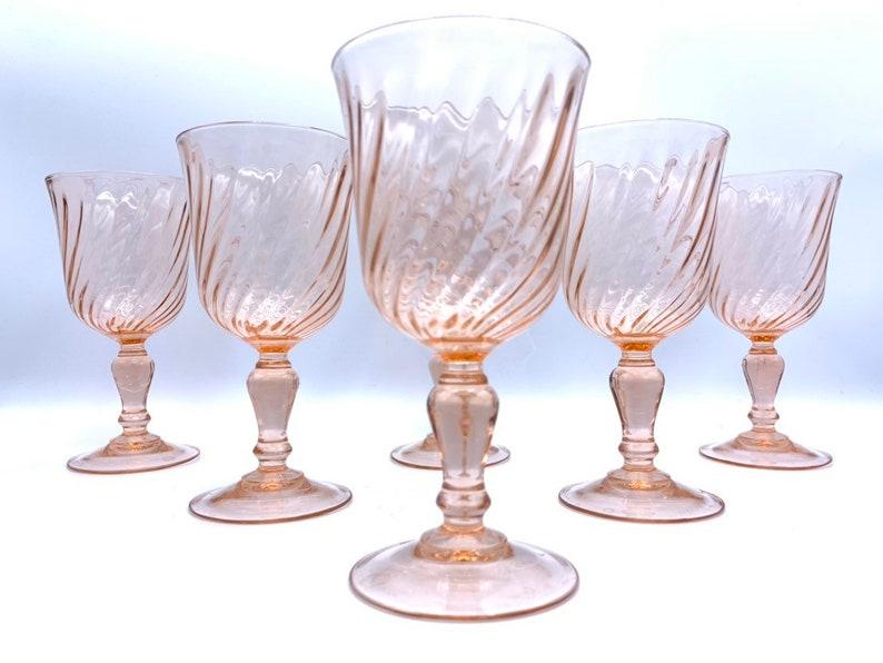Vintage Rosaline Pink Swirl Wine Glass Arcoroc Luminarc D'Arques France Set  of 6