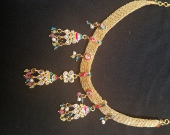 Multi colour gold plated necklace