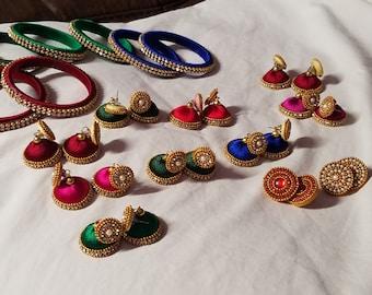 Multi colour thread earrings
