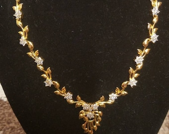Beautiful floral gold-plated and cz set