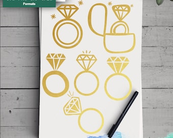 Diamond Ring SVG,  Wedding Ring cutting file, Engagement svg, SVG for Cricut Silhouette , printable, png dxf jpeg svg, Wedding ring svg