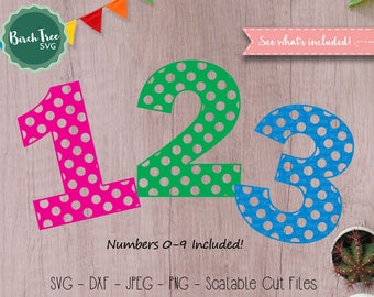 Polka Dot Numbers svg, First Birthday svg, Polka Dot svg, Number svg, Birthday Number svg, Cut Files for Silhouette Cricut, Svg Dxf Png Jpeg