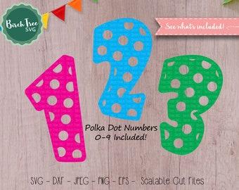 Polka Dot Numbers svg, Birthday svg, Polka Dot svg, Number svg, Birthday Number svg, Cut Files for Silhouette Cricut, Svg Dxf Png Jpeg Eps