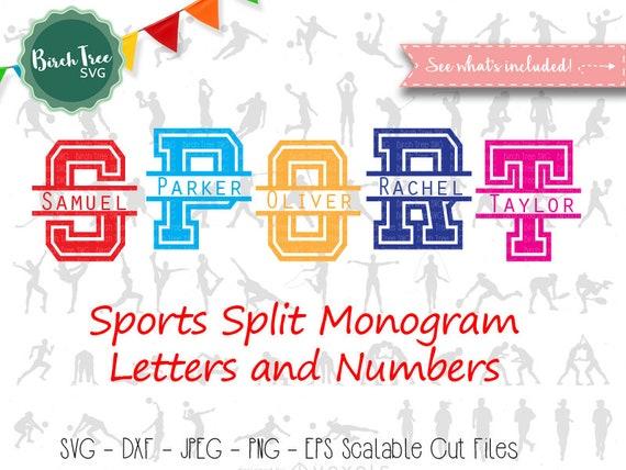 Sport Split Monogram Svg Split Monogram Sport Font Svg Cut Etsy