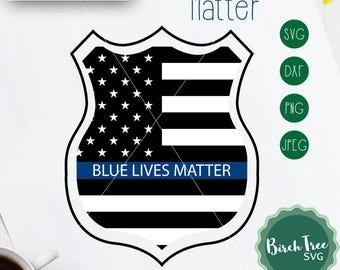 Blue Lives Matter SVG, Police Badge SVG, Police Officer Svg Cut File, Thin Blue Line svg, Police Clipart, American Flag Svg png dxf jpeg