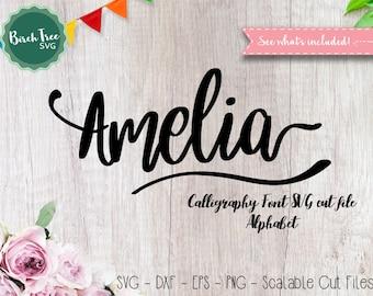 Alphabet SVG Font Cutfile, Modern Calligraphy SVG, Handwritten Script Cricut font Svg, Silhouette Cameo, Digital files, Svg Dxf EPS Png Jpeg