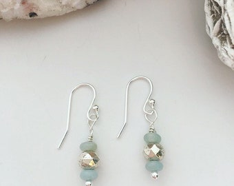 Amazonite Rondelles, Drop Earrings, Silver Plated Beads, Gemstone Earrings, Soothing & Balancing, Healing Jewelry, Spiritual Gifts
