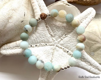 Matte Amazonite and Rudraksha Mala Bracelet, Soothing, Balancing, Calming, Anxiety, Clarity, Crystals, Gemstones