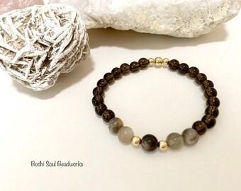 Smoky Quartz & Black Multi-Coloured Moonstone Gemstone Mala Bracelet, 6mm, 14k Gold Filled, Spiritual Gift, Crystal Jewelry