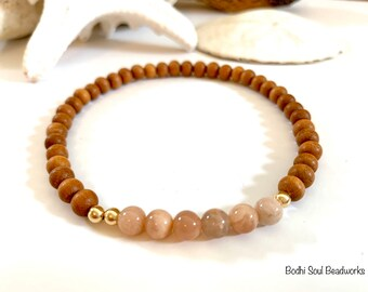 Sandalwood and Peach Moonstone Anklet, Ankle Bracelet, 14k Gold Filled, Manifest, Crystals, Personal Growth, Optimism, Intuition