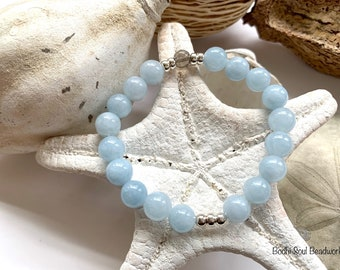 Aquamarine and Smoky Quartz with Sterling Silver Mala Bracelet,