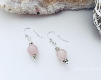 Rose Quartz & Silver (Plated) Drop Earring, Silver Plated Rondelles, 8mm Rose Quartz, Handmade, Gemstone Drop Earring, Healing Jewelry.