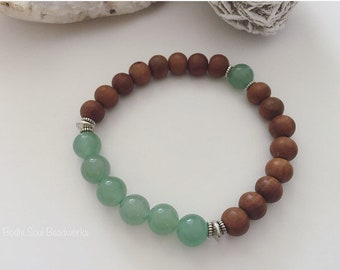 8mm Sandalwood and Aventurine, wrist mala, healing jewelry, tranquility, personal growth, positivity & optimism, gemstones