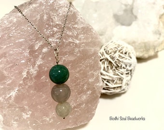 Fancy Jasper Long Layering Necklace, 22 inch Sterling Silver Chain, Crystal Jewelry, Spiritual Gifts