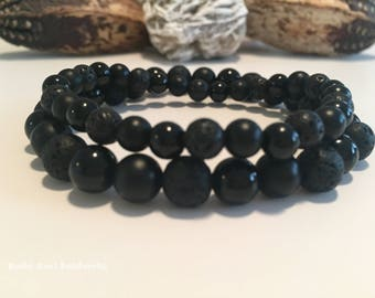 His and Hers Matching Wrist Malas, Black Onyx, Lava Stone, Hers 6mm, His 8mm, Healing Gemstones, His & Hers, Crystals, Strength, Grounding