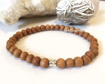Unisex, Mens Sandalwood and Sterling Silver Mala, Optimism, Tranquility, Positive Energy, Gemstones, Mens Bracelet, Mala Bracelet