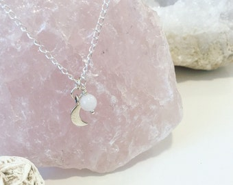 Moonstone & Sterling Silver Crescent Moon Charm Silver Chain Necklace, Female Energy, Gemstone Jewelry, Intentional Jewelry,