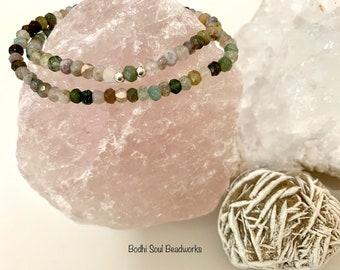 Fancy Jasper Gemstone Bracelet, Wrap Mala, 4mm Faceted, Sterling Silver, Spiritual Gift, Crystal Jewelry